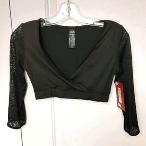 Mirella Black Lace Sleeve Wrap Top Size Small